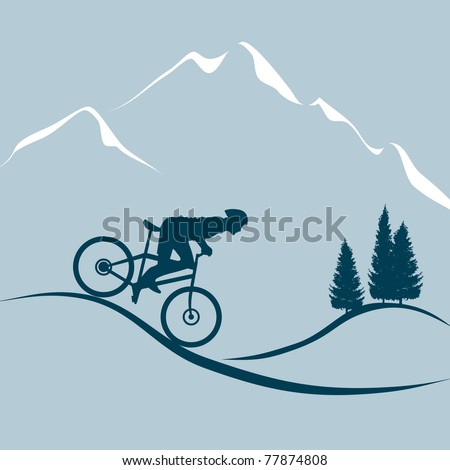 silhouette of a man riding a mountain bike - stock vector