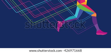 Silhouette of a man running legs transparent overlay colors
