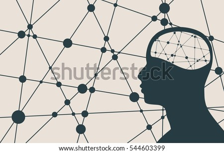 Silhouette of a man's head. Mental health relative vector brochure, report or flyer design template. Scientific medical designs. Connected lines with dots. Vector illustration