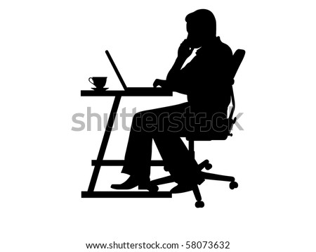 silhouette of a man typing at a laptop