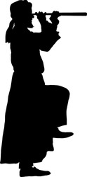Silhouette of a man wearing a turban and robe spying through a telescope. Vector illustration.