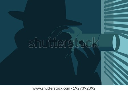 Silhouette of a man wearing fedora hat and coat looking through blinds with a camera Stock photo ©