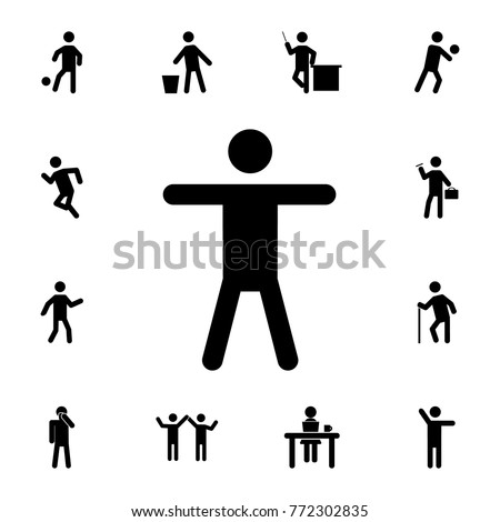 Silhouette of a man who raised his hands icon. Set of Silhouettes of people in different activities icons. Premium quality graphic design collection icons for websites, web design on white background