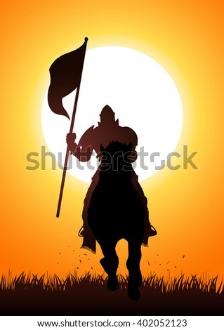 silhouette of a medieval knight
