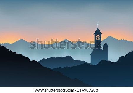 silhouette of a monastery on