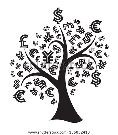 Silhouette of a money tree isolated on white background