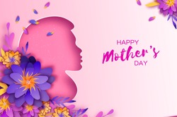Silhouette of a mother in paper cut style. Happy Mothers Day celebration. Bright Origami Flowers. Spring blossom on pink. Space for Text.