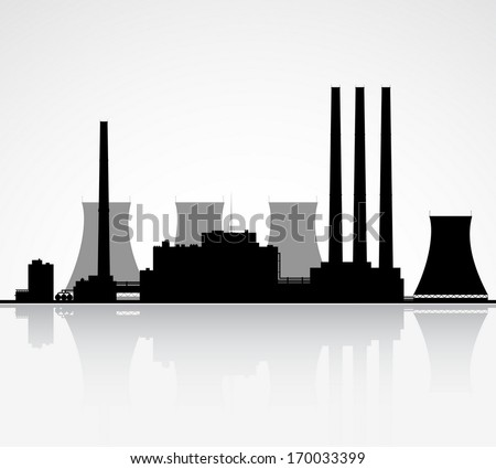 silhouette of a nuclear power
