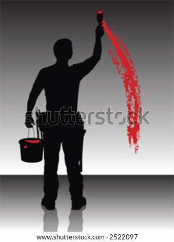 Silhouette of a painter painting the wall with red - stock vector