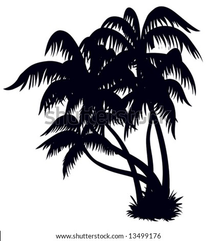 Silhouette of a palm trees on a beach, design element