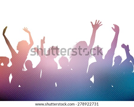 Silhouette of a party crowd