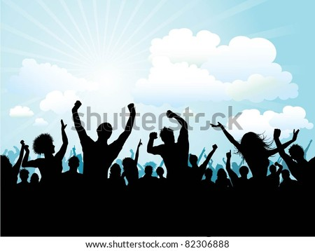 Silhouette of a party crowd on a blue sky background