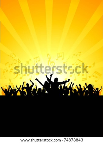 Silhouette of a party crowd on a music notes background