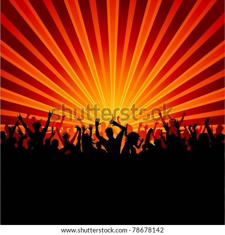 Crowd Silhouette Vector Silhouette of a Party Crowd on