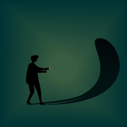 Silhouette of a person in the dark afraid of his own reflection.  Frightened with his own shadow. Facing fear, suppress own ego. Illustration vector