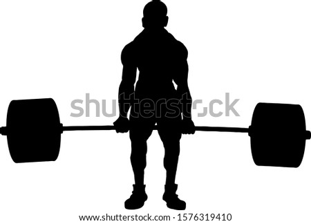 Silhouette of a powerful weightlifter lifting heavy weights. Vector illustration.