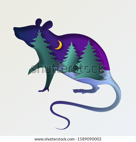 Silhouette of a rat and a fabulous winter landscape. Christmas greeting card. Papercut vector illustration