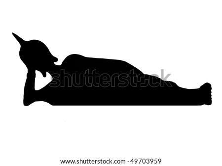 Silhouette of a reclining Thai Buddha. - stock vector
