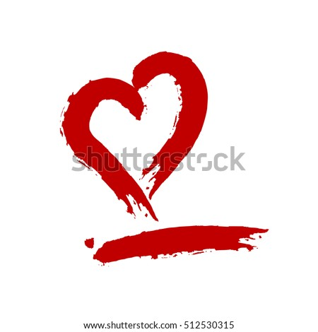 silhouette of a red heart and