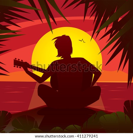 silhouette of a romantic man