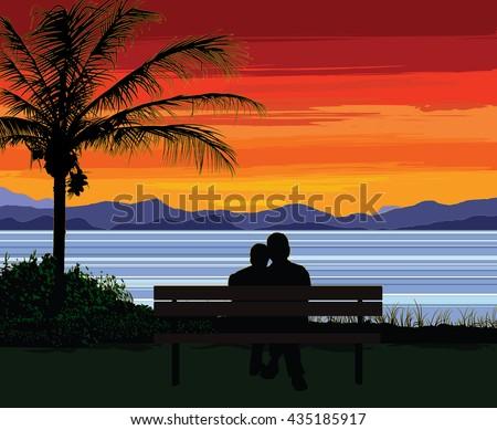 silhouette of a romantic senior