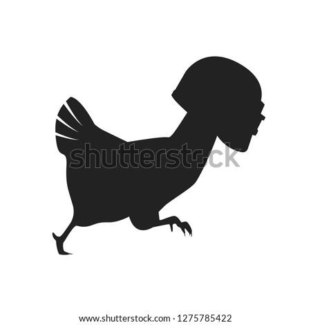 silhouette of a running chicken