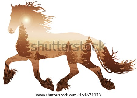 silhouette of a running horse