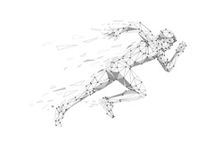 Silhouette of a running man. Dots, lines, triangles