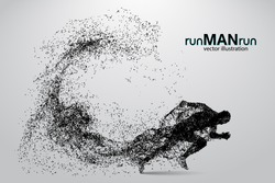 Silhouette of a running man from particles. Text and background on a separate layer, color can be changed in one click. Similar vector can be found in the portfolio. Thank you for watching