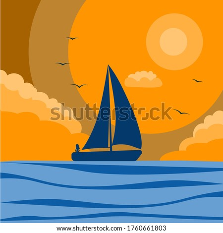silhouette of a sailboat at sunset, vector illustration, sailing boat sailing in the ocean, silhouette of the sea and ship, girl sailing in a boat with sails, drawing in flat style