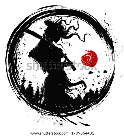 Silhouette of a samurai girl with a katana on her shoulder, standing in profile, drawn with mascara, her hair fluttering in the wind, in the background forest and sun 2d illustration.