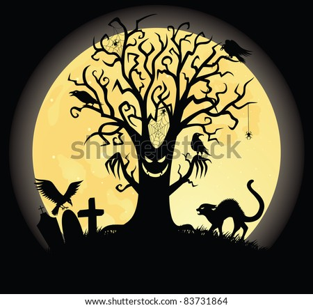 Silhouette of a scary tee. Full moon on the background.