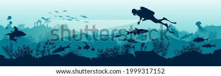 Silhouette of a scuba diver in the underwater world. The diver dives to the depths of the ocean. Stock vector illustration. Panoramic view of the underwater world. Illustration for underwater tourism. Photo stock ©