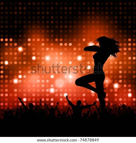 Silhouette of a sexy female with a party crowd