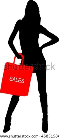 silhouette of a sexy girl with sale shopping bag - isolated vector illustration