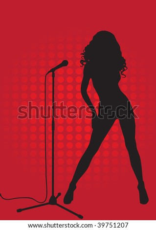 Silhouette of a singer on a red background with the microphone stand - stock vector