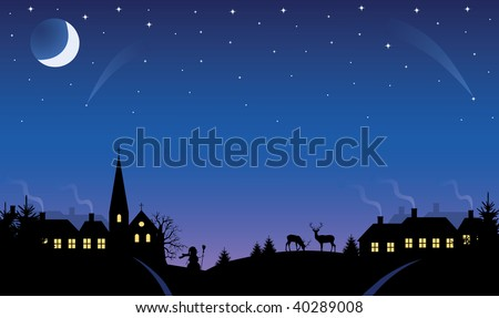 Silhouette of a small village at winter time at night. The Moon and stars in the sky.