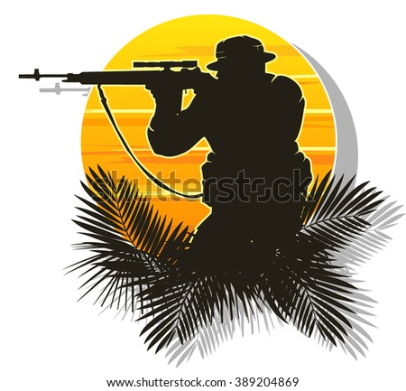 silhouette of a soldier on a