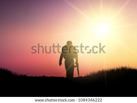 silhouette of a soldier walking