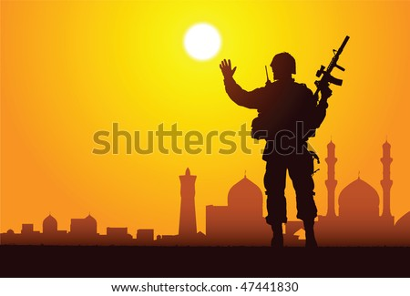 silhouette of a soldier with