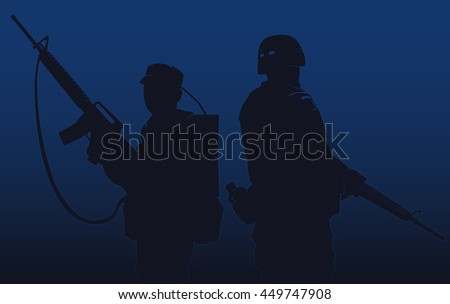 silhouette of a soldiers on a