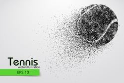 Silhouette of a tennis ball. Background and text on a separate layer, color can be changed in one click. Vector illustration