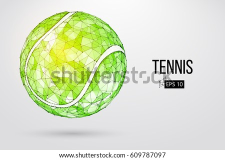 Silhouette of a tennis ball. Dots, lines, triangles, text, color effects and background on a separate layers, color can be changed in one click. Vector illustration