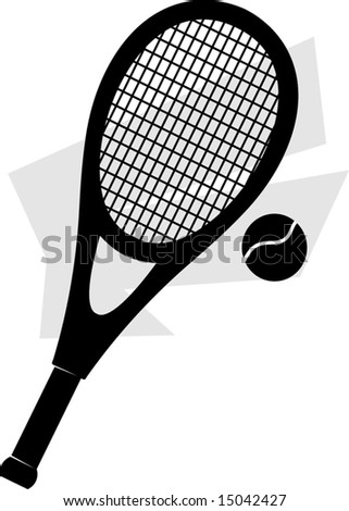 silhouette of a tennis racket and ball