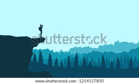 silhouette of a tourist with a