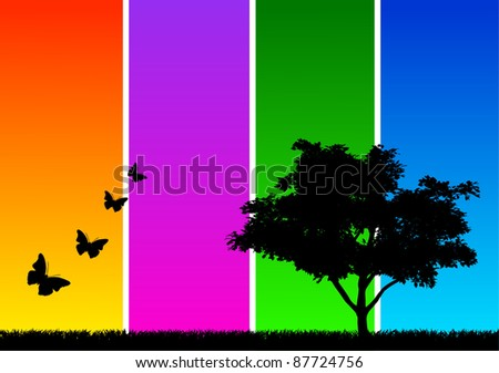 Silhouette of a tree with grass and butterflies