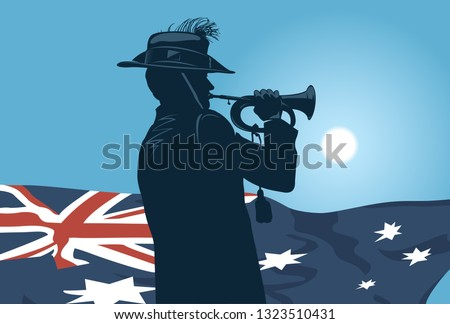silhouette of a trumpet soldier