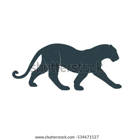 Silhouette of a wild cat. Panther, Cheetah. Isolated vector image. Vintage. Flat.