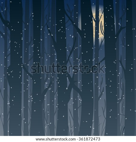 silhouette of a winter forest