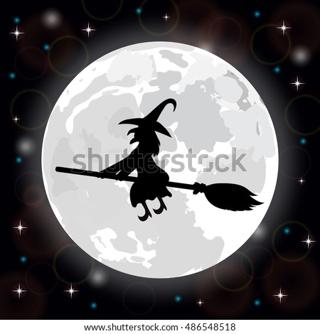 silhouette of a witch on a